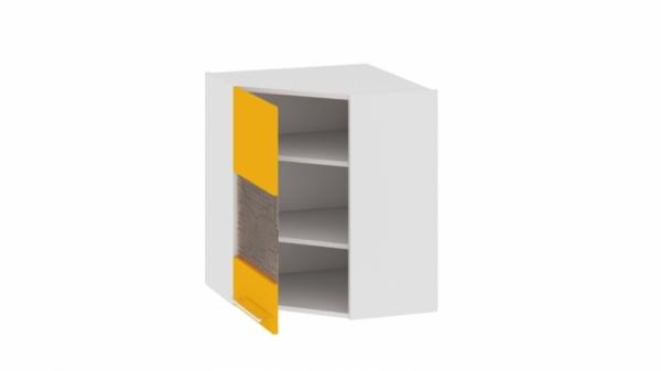 Шкаф навесной угловой с углом 45° со стеклом (левый) ВУ45_72-(40)_1ДРс(А) Желтая 72 см