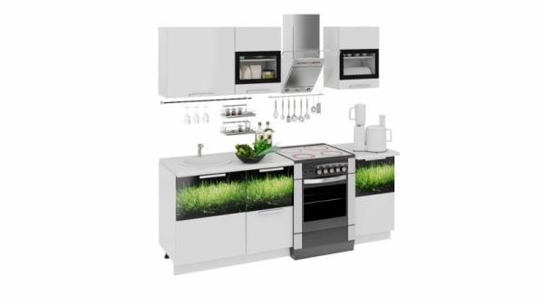 Кухонный гарнитур длиной - 210 см (ФЭНТЕЗИ (Белый универс.)/(Грасс))