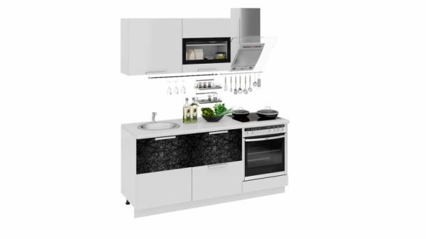Кухонный гарнитур длиной - 180 см (со шкафом НБ) (ФЭНТЕЗИ (Белый универс.)/(Лайнс))