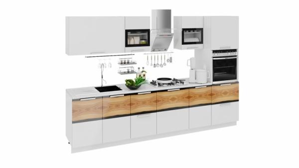 Кухонный гарнитур длиной - 300 см (с пеналом ПБ) (ФЭНТЕЗИ (Белый универс.)/(Вуд))