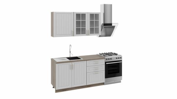 Кухонный гарнитур длиной - 210 см (Дуб Сонома трюфель/Крем)