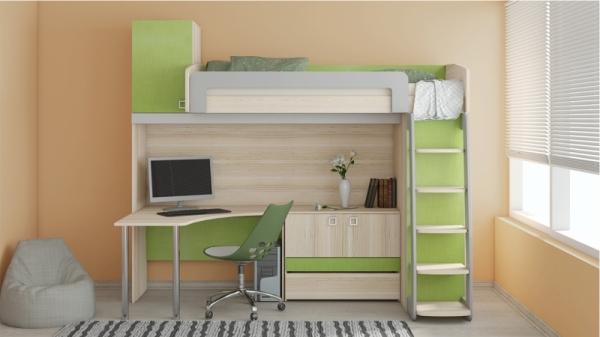 Кровать-чердак с рабочей зоной «Киви» №3 (Панареа, Ясень Коимбра)