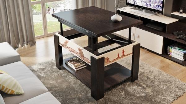 Журнальный столик тип 6 (трансформер) (с рисунком венге цава/дуб молочный)