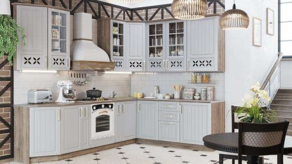 Угловая кухня длиной - 280 х 210 см (со шкафом НБ) (ПРОВАНС (Дуб сонома трюфель/Крем))