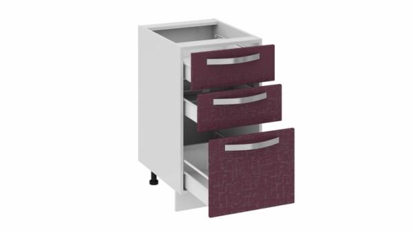 Шкаф напольный с 3-мя ящиками Н3я_72-45_3Я (Синга (Баклажан))