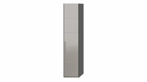 Шкаф торцевой с 1-й зеркальной дверью правый «Наоми» (Фон серый, Джут)
