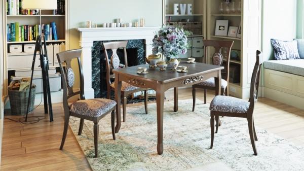 Обеденная группа: стол Бристоль Т1 стулья Денвер Тип 1 (Орех темный/тк. №42 Коричневая)