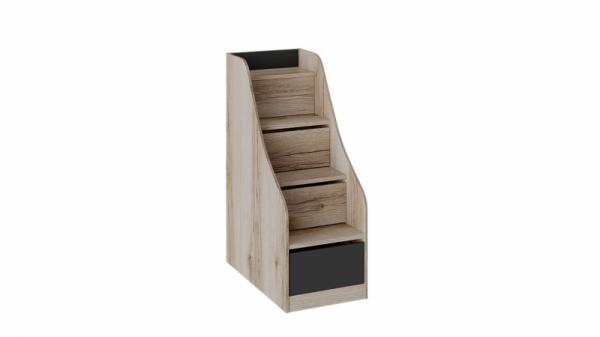 Лестница приставная с ящиками «Окланд» (Фон Черный/Дуб Делано)