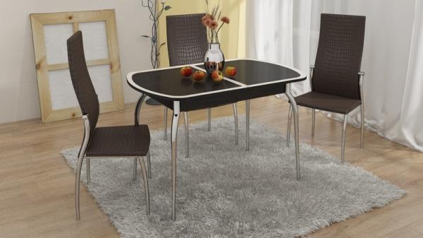 Стол обеденный раздвижной с хромированными ножками «Ницца» (Венге/Кожа коричневая/Стекло с рисунком бежевое)