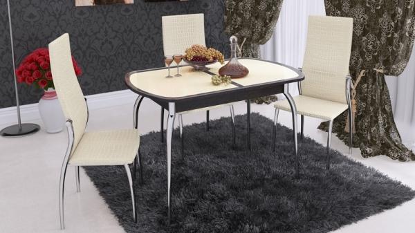 Стол обеденный раздвижной с хромированными ножками «Ницца» (Венге/Кожа бежевая/Стекло с рисунком коричневое)
