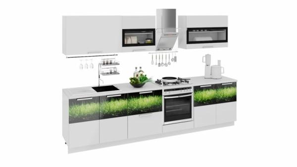 Кухонный гарнитур длиной - 300 см (со шкафом НБ) (ФЭНТЕЗИ (Белый универс.)/(Грасс))