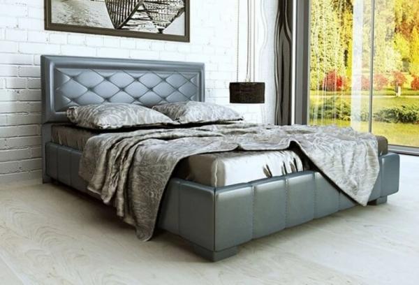 Кровать с подъемным механизмом 2086x1764x1050 эко кожа серая 2