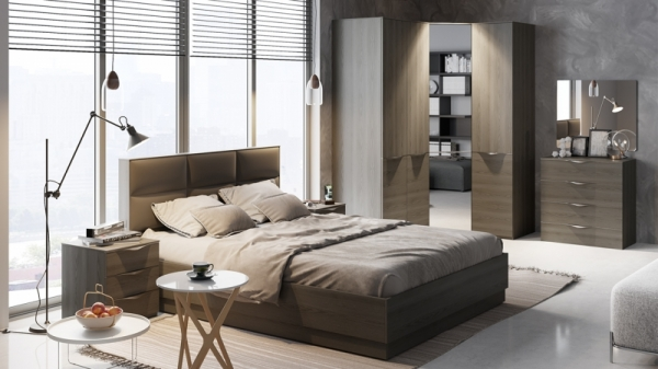 Спальный гарнитур «Либерти» №1 (Хадсон/Фон Серый)