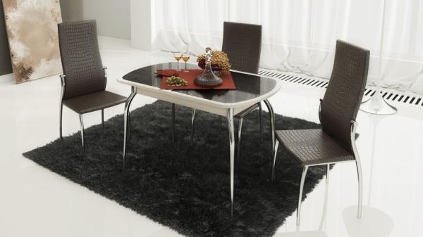 Стол обеденный раздвижной с хромированными ножками «Ницца» (Дуб белфорт/Кожа коричневая/Стекло с рисунком бежевое)