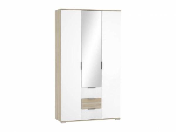 Шкаф 3-х дверный с тремя ящиками дуб сонома\белый глянец