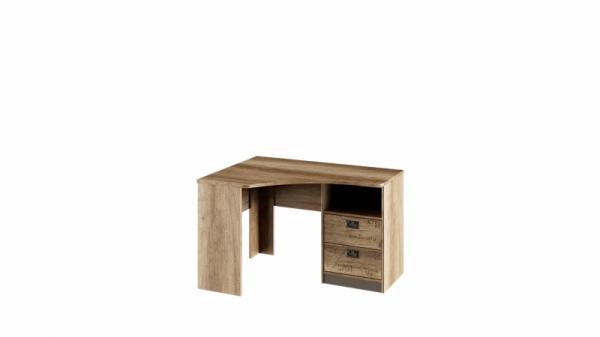 Стол угловой с ящиками «Пилигрим» (Дуб Каньон светлый, Фон серый)