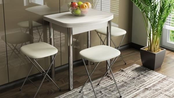 Стол обеденный с хромированными ножками «Лион (мини)» (Дуб Белфорт)