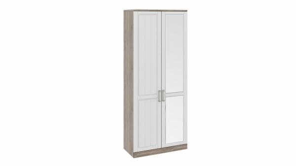 Шкаф для одежды с 1-ой глухой и 1-ой зеркальной дверями «Прованс» (Дуб Сонома трюфель/Крем)