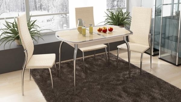 Стол обеденный раздвижной с хромированными ножками «Ницца» (Дуб белфорт/Кожа бежевая/Стекло с рисунком коричневое)