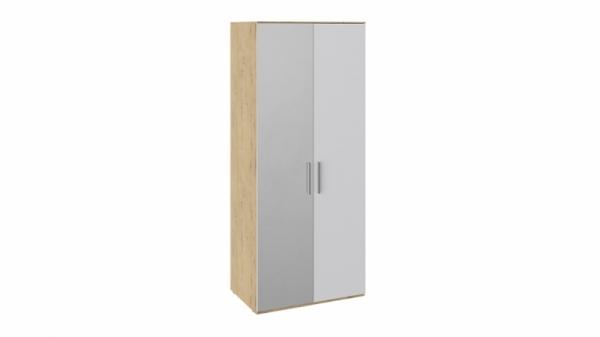 Шкаф для одежды с 1 глухой и 1 зеркальной дверями левый «Квадро» (Бунратти/Белый глянец)