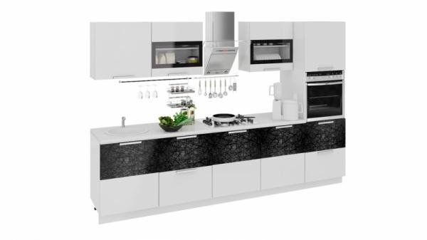 Кухонный гарнитур длиной - 300 см (с пеналом ПБ) (ФЭНТЕЗИ (Белый универс.)/(Лайнс))
