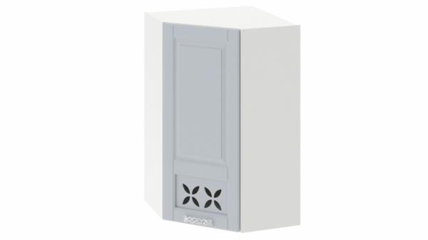 Шкаф навесной угловой c углом 45 с декором ВУ45_96-(40) _1ДРД(L) Голубая 96 см